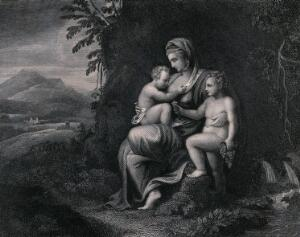 view As the personification of Charity, a woman is holding two children by her side. Engraving by J. Phelps.