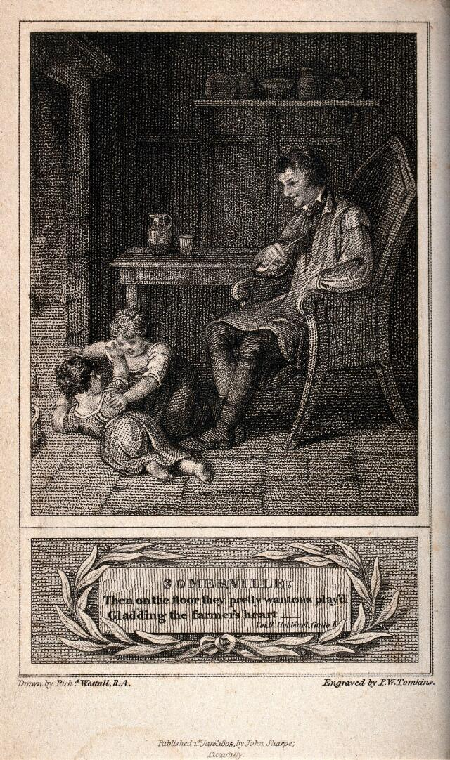 a man sits in a chair at the table smoking his pipe and watching two children playing on the floor stipple engraving by p w tomkins 1805 after r