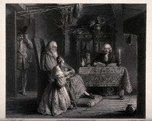 view A young girl kneels on the floor by an old man holding a book on his lap: another man sits at a table with an open book, a third removes his hat as he enters the room. Engraving by L. Stocks after F. Nash.