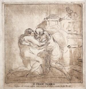 view The prodigal son returns and is greeted by his father. Etching by V. Vangelisti after G.F. Barbieri, il Guercino.