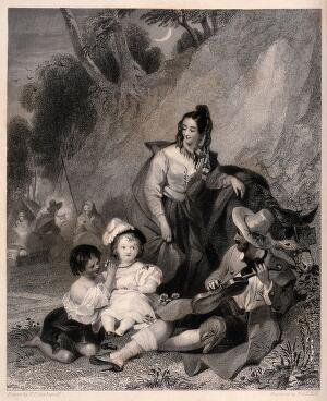 view A family of gypsies sit in their camp with a child they have stolen. Engraving by W & E Hott after F.P. Stephanoff.