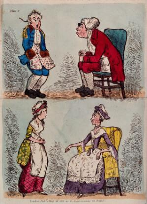 view A father reprimanding his son, and a mother reprimanding her daughter. Coloured etching, 1801.