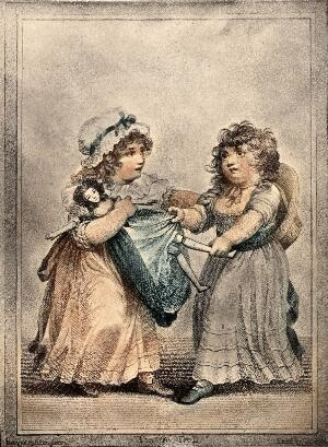 view Two young girls fight over a doll which they both lay claim to. Coloured stipple engraving by C. Knight after H. Singleton.