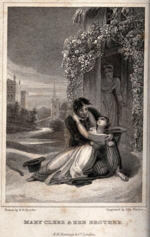 view A young woman lies prostrate in the arms of her brother ouotside a rural house as another woman comes through the doorway. Engraving by Edward Finden after W.H. Brooke.