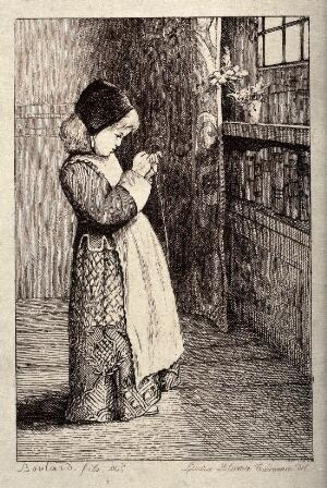 view A little girl in Elizabethan costume stands in a room trying to thread a needle. Etching by A. Boulard the younger after Laura Alma Tadema.