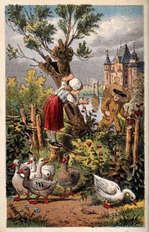 view A young goose girl stands on a fence stump to watch a traveller go by. Chromolithograph.