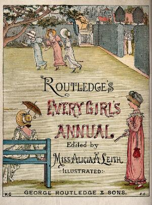 view Girls at play in a garden: the frontispiece to Routledge's Every girl's annual. Coloured wood engraving by E. Evans after Kate Greenaway.