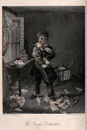 view A young boy tears up his school textbooks in a fit of anger against his education. Engraving W.C. Wrankmore after C. Wrankmore.