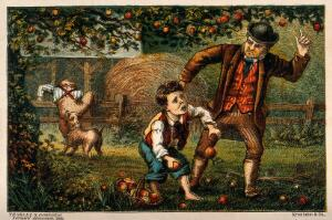 view One boy is caught by an irate farmer while stealing his apples from the orchard and another has the seat of his trousers ripped by a dog as he tries to escape over the fence. Colour wood engraving.