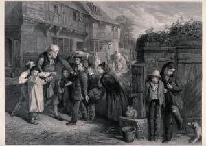view A boy is accused of breaking a shop window while the real culprits hide behind a water pump. Engraving by H. Lemon after W.H.Knight.