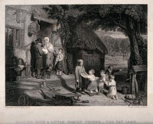 view A family are saddened by the sale of their pet lamb. Engraving by C. Rolls after W. Collins, 1813.