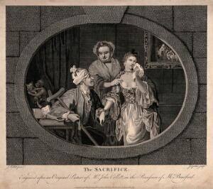 view A young woman is weeping as she is being offered in marriage by her mother to a old, lame man. Engraving by J. Goldar after J. Collet, 1767.