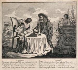 view A scene from the childhood of the young Harlequin. Etching by G.J. Xavery.