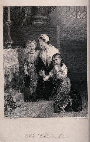 view Two young children comfort their mother as she mourns at the tomb of her dead husband. Engraving by F. Bacon after Miss L. Sharpe.