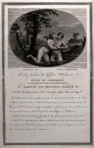 view Hermaphroditus in the pool of the spring-nymph Salmacis, who begged the gods that they be joined for all time; the gods acceded and they became one, male and female. Engraving by Colinet after François Albani.