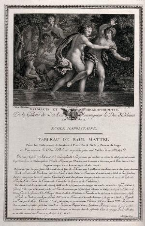 view Hermaphroditus in the pool of the spring-nymph Salmacis, who has asked the gods to join them together for all time; the gods acceeded and they became one, male and female. Engraving by A. Romanet after Boul after Paolo de Matteis.