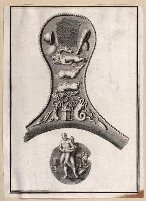 view Possibly the handle of a mirror, on which are depicted phallic motifs and symbols of fertility. Engraving and etching by James Basire after himself.