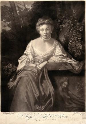 view Nelly O'Brien. Mezzotint by J. Wilson after Sir J. Reynolds.