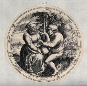 view A woman plays the bag pipes. Engraving.