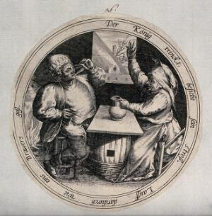 view A man drinks from a glass as a woman holds a jug and raises her hand in the air. Engraving.