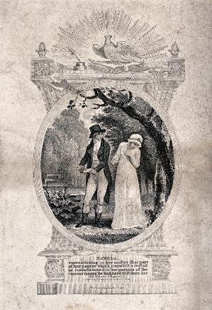 view A man with papers in his hand looks questioningly at a young woman (Pamela) who turns her face away. Engraving by C. Warren, 1801, after R. Corbould.