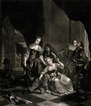 view A man and a woman embrace and drink wine in the corner of a room, as a young girl attempts to rouse the young boy who has fallen asleep against her knee watched by two older women standing over them. Mezzotint by N. Verkolje after himself.