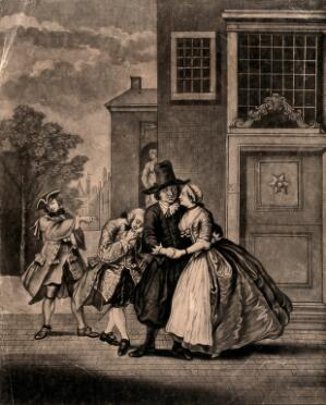 view A young woman encourages the attentions of an old man while offering her hand behind his back to a younger one. Mezzotint by Wilson after C. Troost.