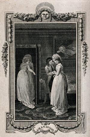 view Two women leave the room as a young man holds the hands of a girl and inclines his head towards her. Engraving by A. Birrel after T. Stothard.