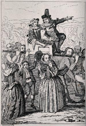 view A couple being carried along above the heads of a cheering crowd. Etching by George Cruikshank.