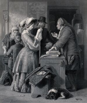 view A young couple visiting a draper's shop to choose material for a wedding gown. Engraving by Frederick A. Heath after W. Mulready.