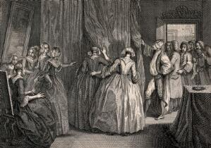 view A secret marriage behind curtains which is being watched by some men and women from outside. Engraving.