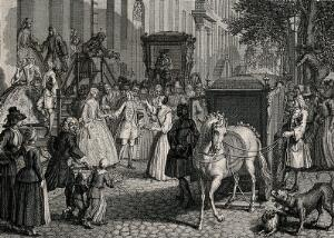 view A crowd gathers and some throw confetti to cheer on a couple whose horse-drawn carriage awaits to take them to the church for their marriage. Engraving.