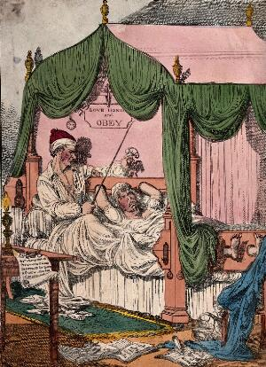 view A couple lie in bed, the husband has a whip and thumbscrews, around the floor lie sheets of paper which tell of the way a wife should behave. Coloured etching by Williams.