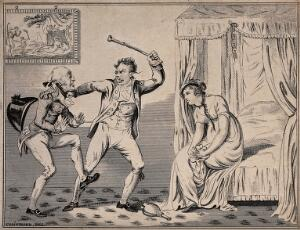 view A women sits dejectedly on the end of the bed as one man threatens to hit the other with a riding crop. Etching after George Cruikshank.
