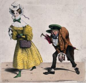 view A hunchback man (Mayeux) follows a young woman paying her unwanted attention. Coloured lithograph by de Delaunois after C.J. Travies de Villers.