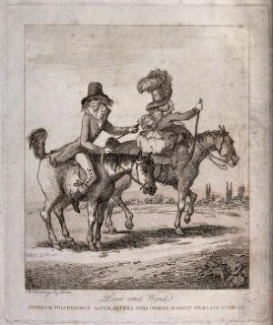 view A man and a woman  riding on horseback outside Cambridge: the man's horse is flatulent. Etching after H.W. Bunbury.