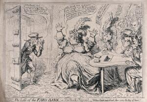 view While Lady Buckingham is gambling with her cronies, her husband enters to report the theft of the bank. Etching by James Gillray, 1797.