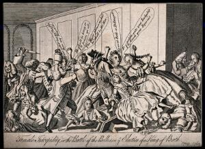 view A crowd of men and women are brawling, some have fallen off the benches onto the floor. Etching.