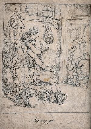 view A man and a young woman embrace each other: they are are watched by a girl and a dog standing at the door. Etching by Thomas Rowlandson, 1815.