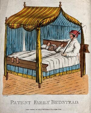 view A couple lie in bed, the woman has her hands and feet padlocked into each end of the bed and her husband has a whip. Coloured lithograph. after J.F.
