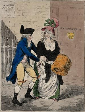 "view Left, a woman is attacked by Renwick Williams with a knife; right,  and a man is making ""copper bottoms"" for women to prevent them from being injured in an attack. Coloured etching."