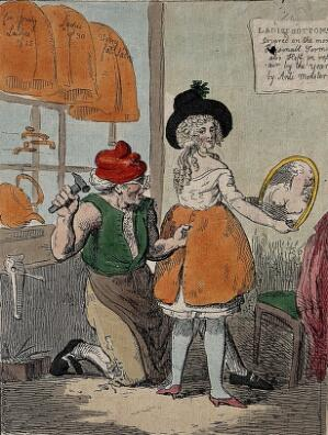 """view Left, a woman is attacked by Renwick Williams with a knife; right,  and a man is making """"copper bottoms"""" for women to prevent them from being injured in an attack. Coloured etching."""