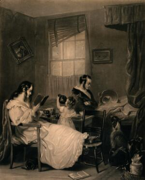 view A squalid family scene: domestic items lying around, the mother reading, the father doing nothing, and the child drinking out of the teapot. Mezzotint by J. Scott after S.J.E. Jones.