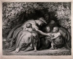 view A family group in a leafy bower: the mother leaning forward to tend to two children, another child against her knees. Engraving by W. Y. Ottley, 1828, after himself, 1792.
