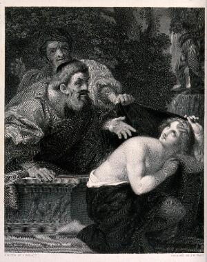 view Susanna and the elders. Engraving by J.H. Watt after L. Carracci.