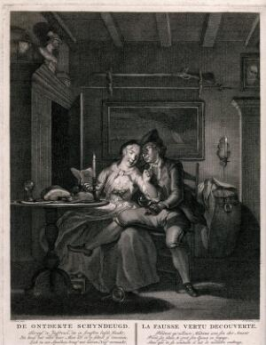 view A young couple sit together at a table, the man has his leg across the woman's knees and a glass of wine in his hand: they are laughing and reading by candlelight. Engraving by J. Houbraken after C. Troost.