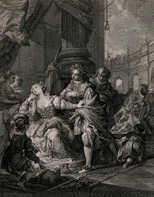 view Queen Gunhilda, consort of King Henry III of Germany, receives from her page the severed head of the man who had accused her of adultery, after he had been defeated by the page in combat, but Gunhilda renounces her victory. Engraving by S.F. Ravenet after A. Casali.