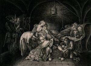 view Jean Calas is visited in his cell by his family as a warder loosens the shackles on his leg and a man in a cowl enters the room. Engraving by Andreas Leonhard Moeglich after Daniel Chodowiecki.