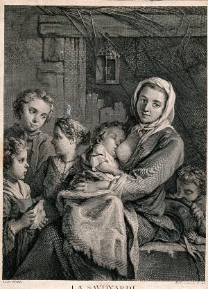view A woman from Savoy breastfeeds a baby and other children stand around her. Engraving by N. de Larmessin III after J.B.M. Pierre.