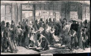 view Boys hand out newspapers to the waiting crowds. Wood engraving.
